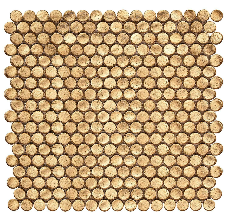 10 Tiles Penny Round Glossy Gold Porcelain Mosaic Floor Wall Tile Decor 9 4 Sqft For Sale Online Ebay