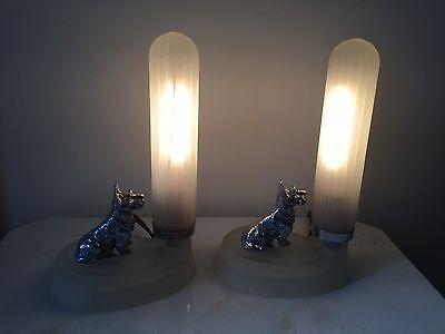 Pair Scottish Terrier Dog Metal Art Deco Lamps.                     #1911