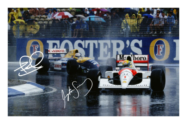 Ayrton Senna and Nigel Mansell Signed Autograph Photo Print Formula 1 F1