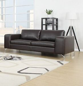 sofa 2er couch wohnlandschaft garnitur lounge wohnzimmer kunstleder dunkelbraun ebay. Black Bedroom Furniture Sets. Home Design Ideas
