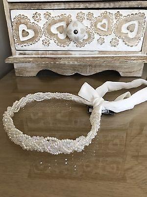 Bridal Pearl & Sparkle Fascia Per Capelli Effetto Con Cravatta In Chiffon Nuovo Con Etichetta-mostra Il Titolo Originale