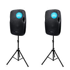 2 x Kam rz10a v3 Altoparlante attivo con linea Stereo + Microfono ingressi DJ PAIR & Stand