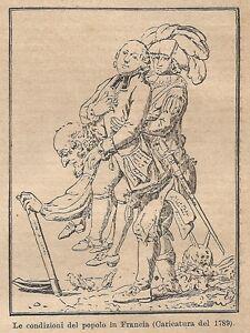 A9059 Condizioni Del Popolo In Francia - Xilografia Antica Del 1906 - Engraving