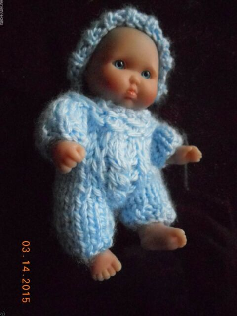 "Doll Clothes blue Hand Knitted Outfit for Berenguer ooak Baby Boy 5"" 6"""