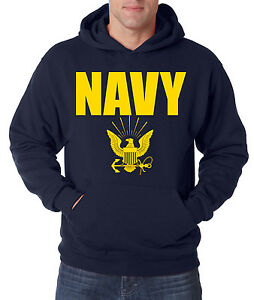 Image is loading NAVY-HOODIE-GOLD-Military-Hooded-Sweatshirt-Blend-Seal- 4328a0740cc