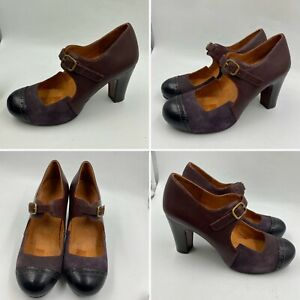 Chie-Mihara-Size-4-37-Plum-Mary-Janes-Pumps-Embossed-Suede-Leather-Heels-Womens