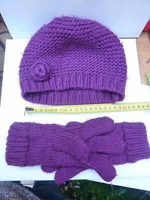 Apprensivo Bonnet Enfant Fille Taille Tu Nky Violet Avec Gants Inclus Colori Fantasiosi