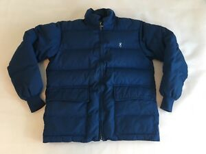 Browning-Vintage-Down-Filled-Jacket-Mens-Small-Navy-Blue-Puffer-Coat-USA