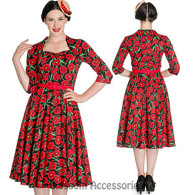RKP38 Hell Bunny 50's Poppy Rockabilly FLORAL Vintage Style Pin Up Swing Dress