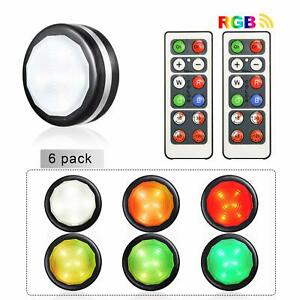 6 Pack Led Cabinet Light Rgb Color Puck Lights Dimmable Under Shelf Kitchen Lamp Ebay