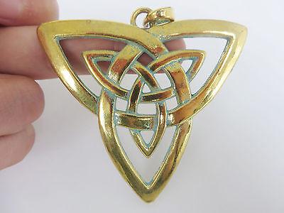 2/5pcs Verdigris Gold Large Celt Trinity Triquetra Knot Charms Pendant 68x65mm