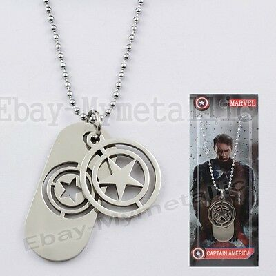 Super Hero Captain America LOGO Star 2 Pendant Metal Necklace NIB