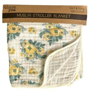 """Chick Pea Muslin Stroller Blanket 100% Cotton White with Flowers Unisex 42""""x42"""""""