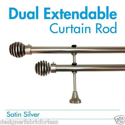 DOUBLE DUAL Curtain Rod & Finial Set, Extendable from 120cm - 380cm 2 colors