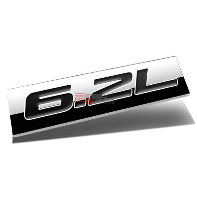 ALUMINUM STICK ON POLISHED CHROME RED 6.2L 6.2 L DECAL EMBLEM TRIM BADGE LOGO