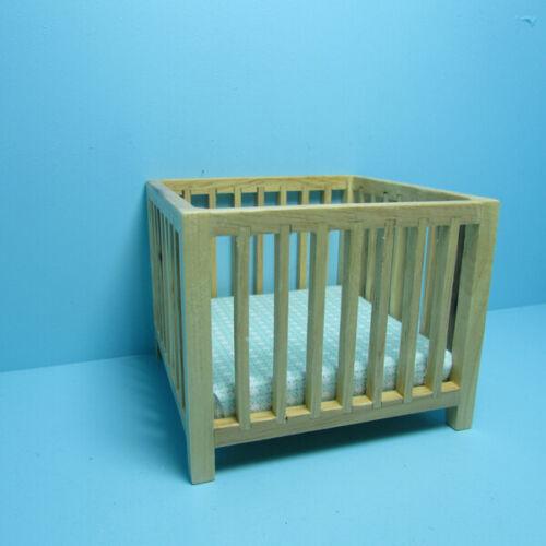 Dollhouse Miniature Wood Nursery Playpen in Oak with Green Blue Fabric CLA10616