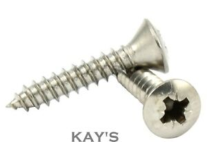 Pozi Countersunk Self Tapping Screws No.10 No.12 No.14 A4 Stainless Steel