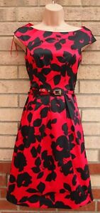 FLORENCE-amp-FRED-BLACK-RED-FLORAL-BELTED-SATIN-PROM-PARTY-WEDDING-DRESS-6-XS