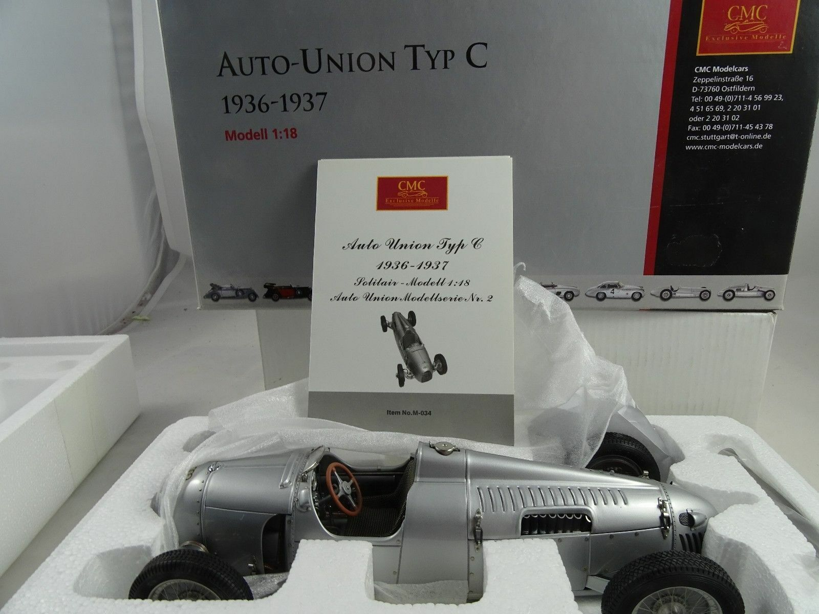 1 18 CMC m-034 Auto Union Type C 1936 37 LIMITED RARE §