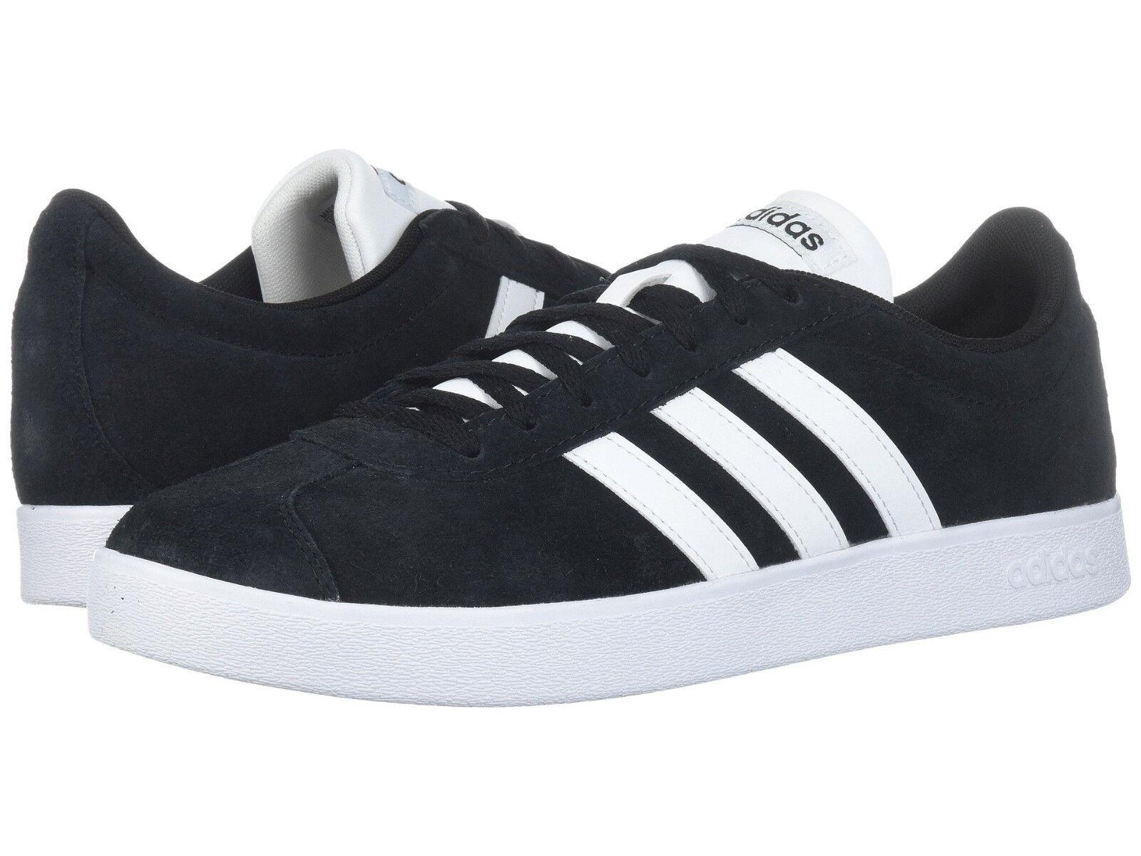 Men Adidas VL Court 2.0 Sneaker Suede DA9853 Black White 100%Authentic Brand New