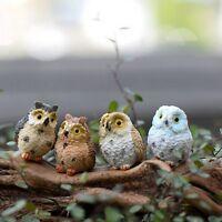 4 Owl Mini Statue Garden Plant Pot Decor Outdoor Home Yard Lawn Ornaments Gift