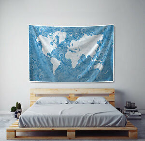 World map tapestry paisley in blue fabric art print wall hanging ebay image is loading world map tapestry paisley in blue fabric art gumiabroncs Image collections