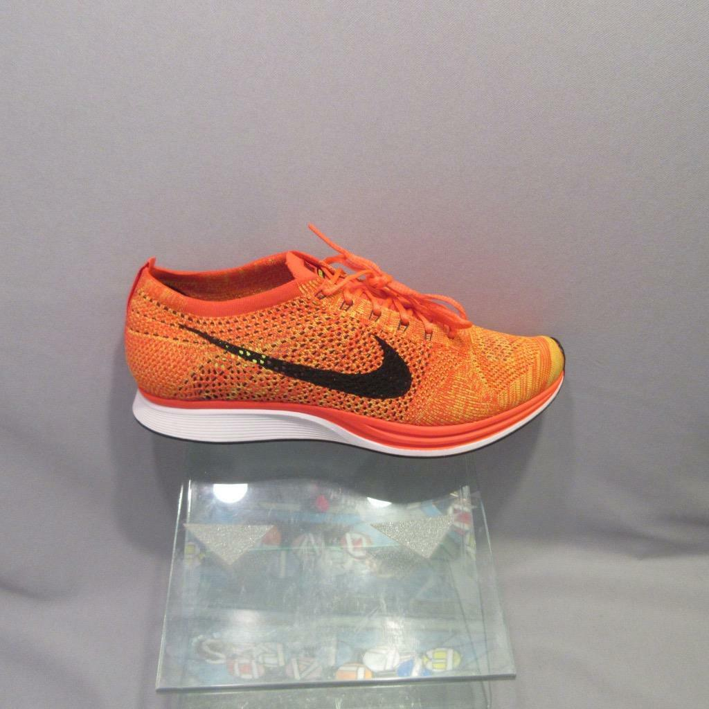 Nike Flyknit Racer 526628 602 BRIGHT CRIMSON BLACK AND VOLT MENS size 12