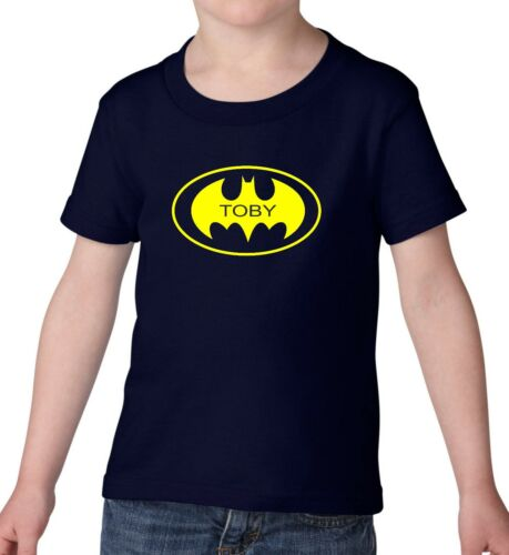 PERSONALISED BATMAN KIDS CARTOON SYMBOL LOGO BLACK T SHIRT