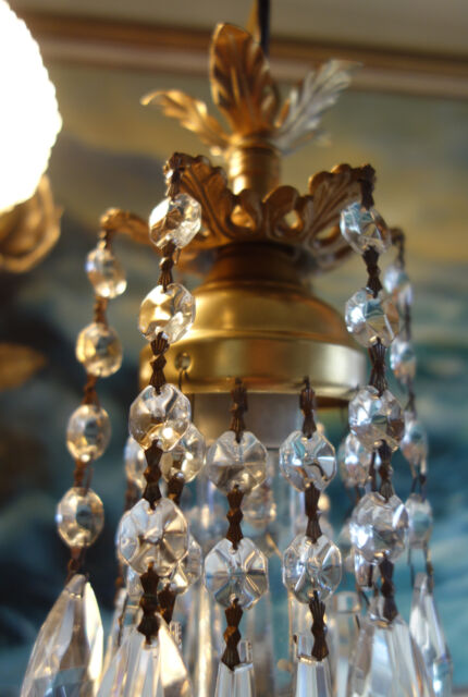 hanging baby lamp mini Chandelier Crystal prisms Brass Pendant Spelter fr closet