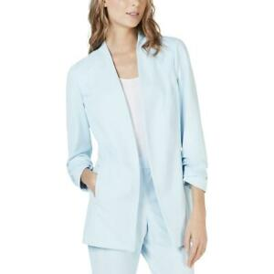 Alfani Blazer Ruched Sleeve Collarless Open Front Blue Sz L NEW NWT 313