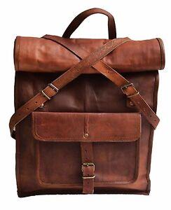 New Men/'s Vintage Genuine Leather Laptop Backpack Rucksack Messenger Bag Satchel