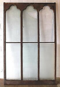 Details About 1800s Wooden Gothic Top Church Window Frame Chip Glass Arch Top Large Ornate