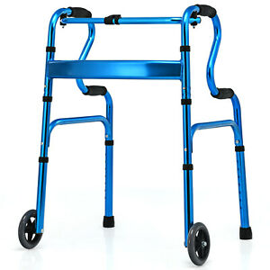 Ironmax Heavy-Duty Folding Wheeled Stand-Assist Walker Aluminum Alloy Blue