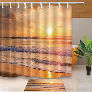 Ocean Beach Design Waterproof Bathroom Shower Curtain Liner Doormat Set 71x71 In
