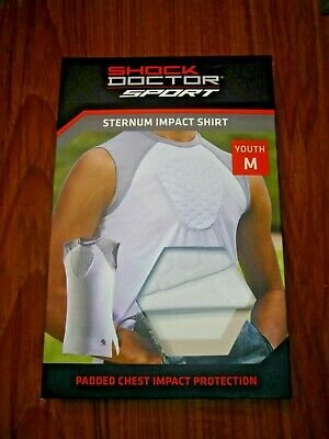 White Sleeveless Padded Sternum Shirt for Chest and Heart Protection YOUTH M
