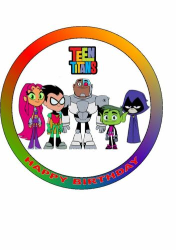 Personalised Teen Titans  Easy Peel pre-cut Edible Icing Cake Toppers