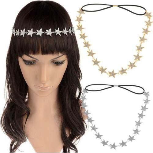 Fashion Women/'s Metal Chain Jewelry Pentagram Star Elastic Hair Band Headband UK
