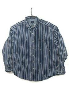 Vintage-Tommy-Jeans-Blue-White-Long-Sleeve-All-Over-Logo-Button-Shirt-Mens-XXL