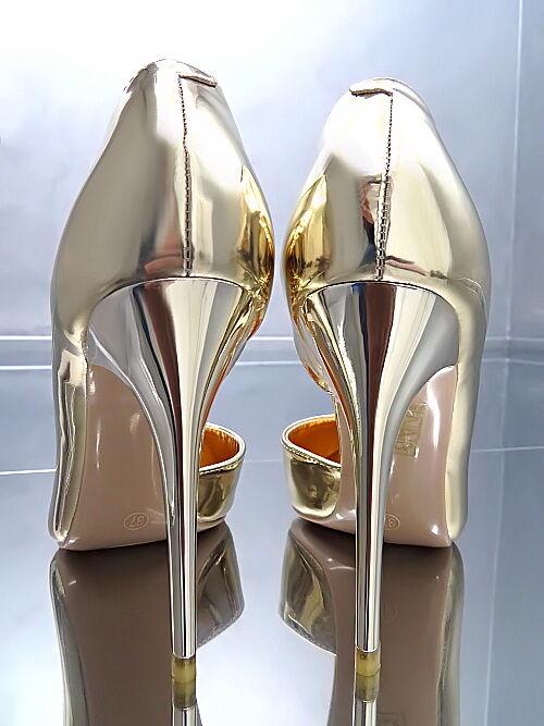 HOHE Absatz Damen Pumps Elegant Classic O30 Schuhe Gold Sexy High Heels 36