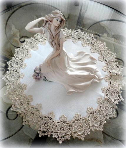 "23/"" Rose Lace Soft Gold /& Ivory Doily Vintage Design Round"