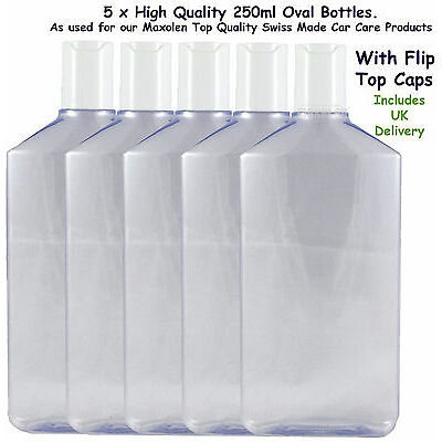 Bottles 250ml Clear PET Bottles Empty with Flip Disc Caps x 5, High Quality