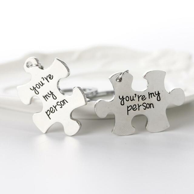 Silvery Metal Keychains Puzzle You're My Person Lover Couples Gifts Keyring K9D4