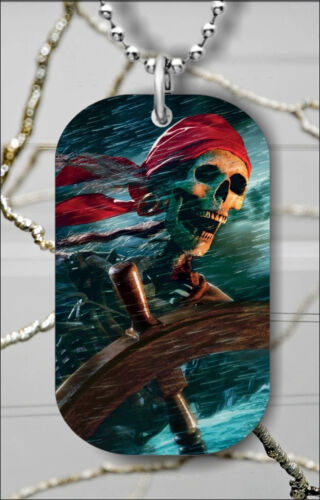 pfc4Z SKELETON SCARY PIRATE IN STORM DOG TAG PENDANT NECKLACE FREE CHAIN
