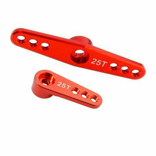 1//10 1//8 Aluminum Steering Single//Double Servo Horn Arm 25T Teeth for Futaba Red