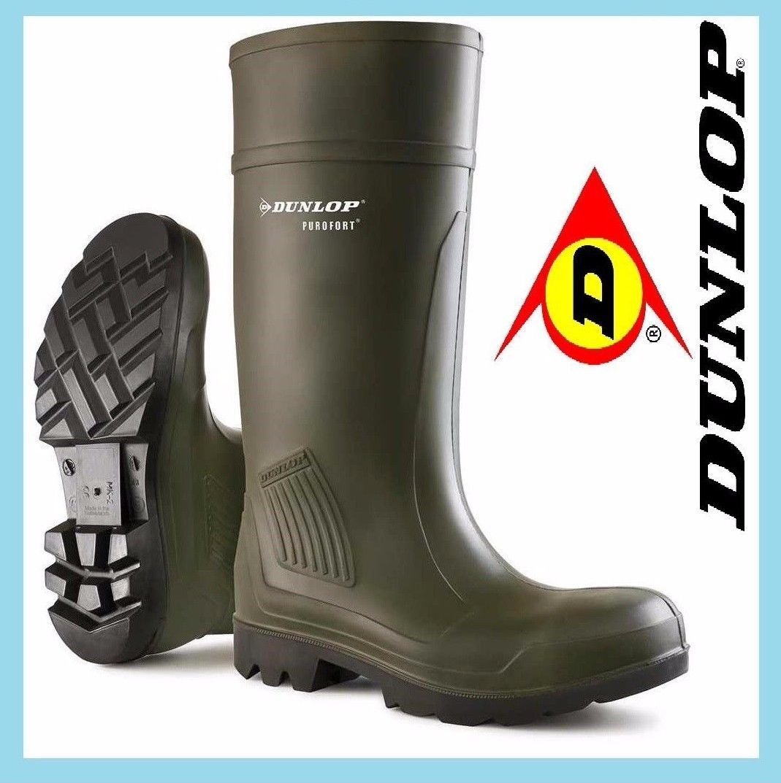 Dunlop Purofort completa sicurezza Stivali di gomma Stivali Verde di gomma Welly Stivali Verde Stivali Taglia 4-13 2c395f