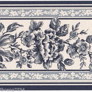 Victorian-Blue-White-Flower-Floral-Rose-Vine-Leaf-Toile-Stripe-Wallpaper-Border