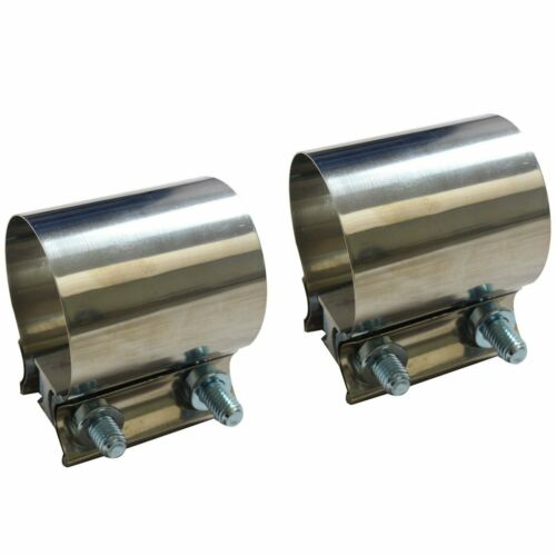 "2pcs 2.75/"" 2 3//4/"" Stainless Butt Joint Band Exhaust Clamps T304"