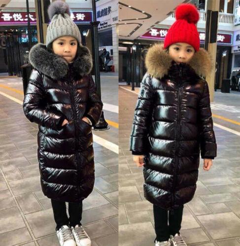 Mädchen Kinder Winter Pelzkragen Fell Fur Kapuze Daunen Mantel Jacke Stepp Parka