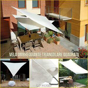 Tende Triangolari Da Esterno.Dettagli Su Vela Ombreggiante Bianca Da Giardino Vele Tenda Da Sole Telo Parasole Ombra Teli