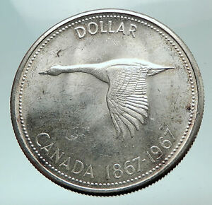 1967-CANADA-CANADIAN-Confederation-Founding-with-GOOSE-Silver-Dollar-Coin-i82165